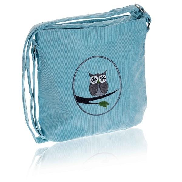 Aqua Cameo Owl Cotton Cord Messenger Bag 30a6cba313649