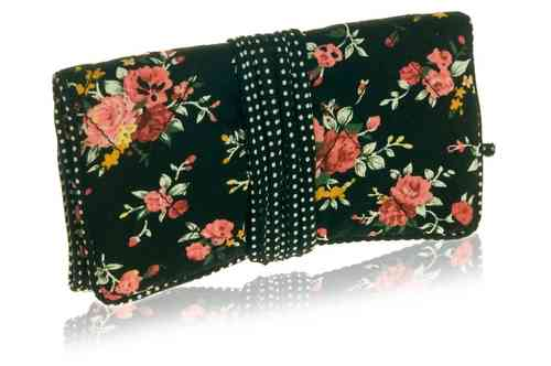 Black Flower Jewellery Roll
