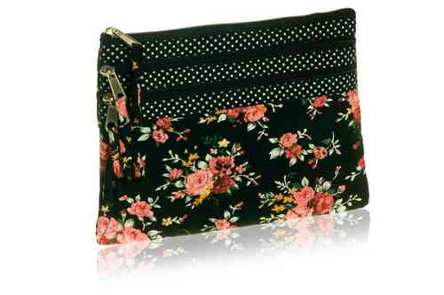 Black Flower Cosmetic Purse