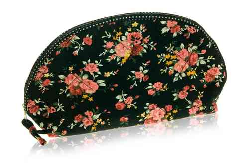 Black Flower Wash Bag
