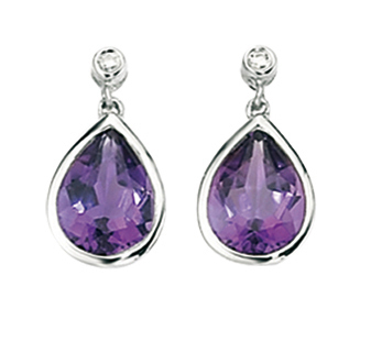 White Gold Amethyst and Diamond Earrings
