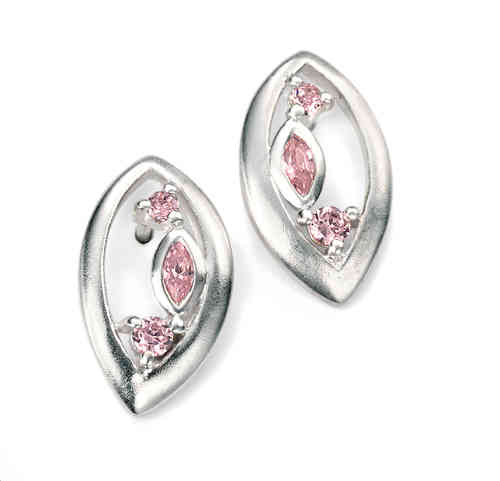 Marquise Earrings with Pink Cubic Zirconia