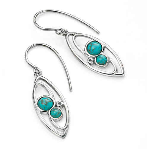 Marquise Earrings with Turquoise detail