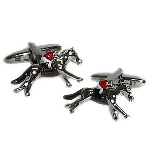 Red Jockey on Horse Cufflinks