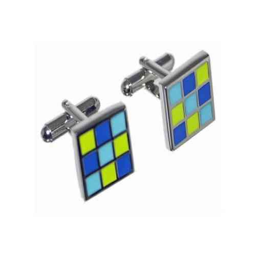 Square Blue and Green Box Cufflinks