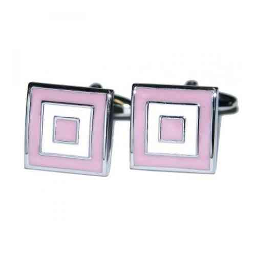 Classic Square Design Pink Cufflinks