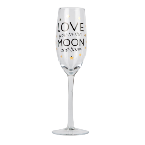 'Love you to the moon and back' Champagne Glass