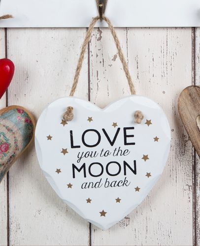 'Love you to the moon' hanging Plaque
