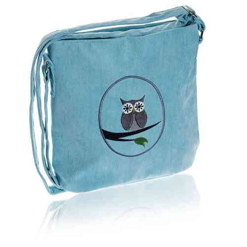 Aqua Cameo Owl Messenger Bag