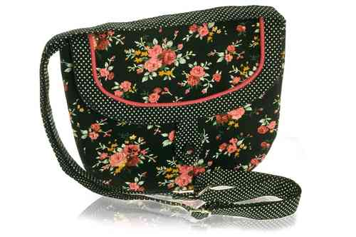 Black Flower Saddle Bag