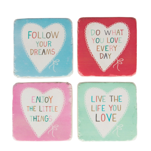 Lovely Sayings Heart Coasters