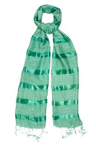 Spring Green Silk and Linen Stripe Scarf