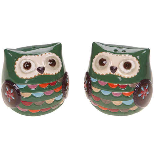 Green Owl Salt and Pepper Shaker