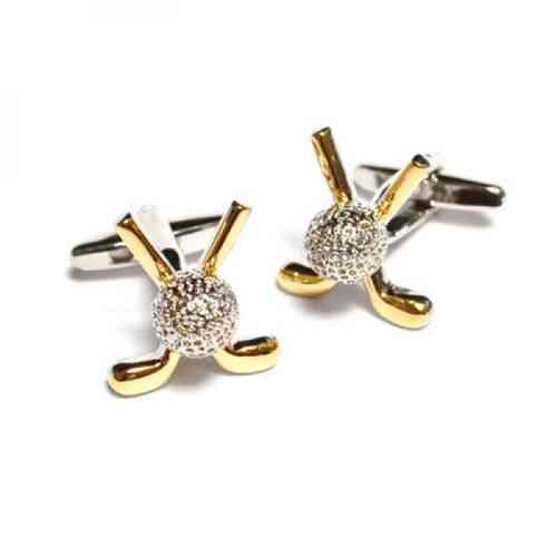 Golf Ball and Clubs Cufflinks