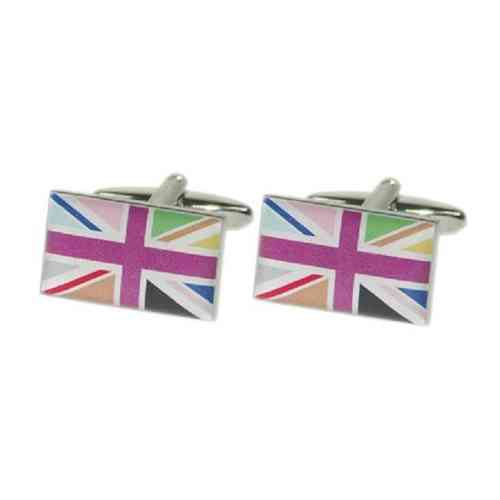 Multi-coloured Union Jack Flag Cufflinks