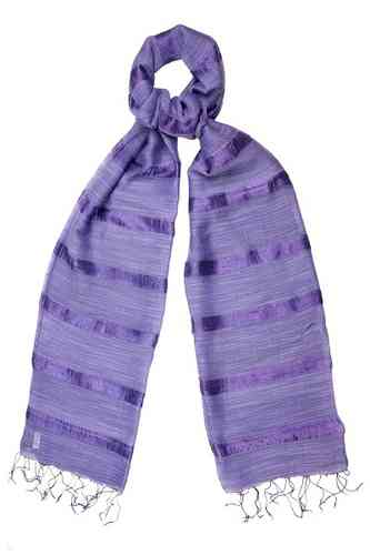 Loganberry Silk and Linen Stripe Scarf