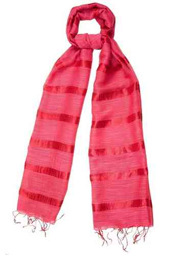 Poppy Red Silk and Linen Stripe Scarf