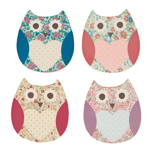 Floral Owl Coaster Set