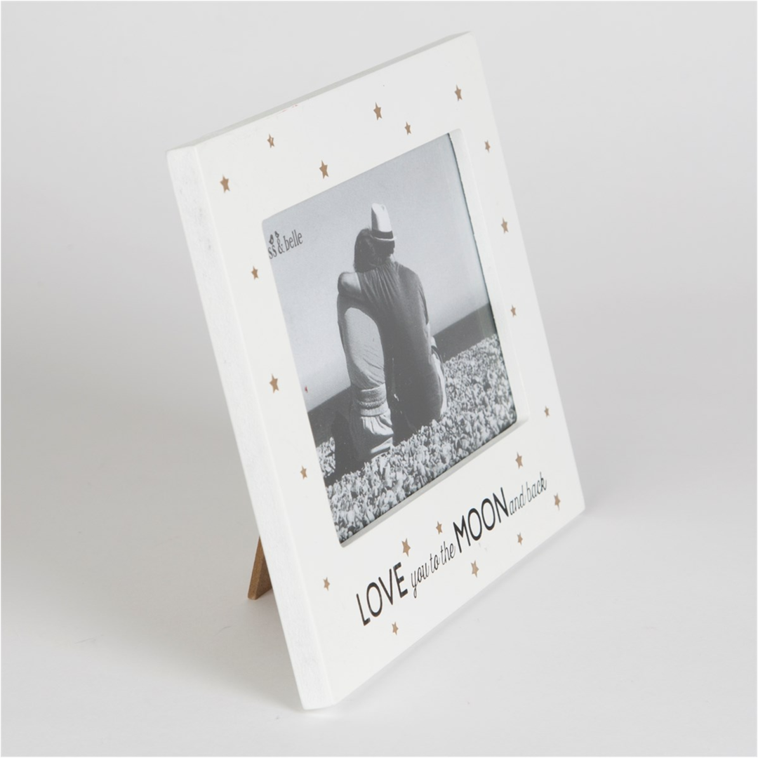 Love you to the moon and back Frame - White