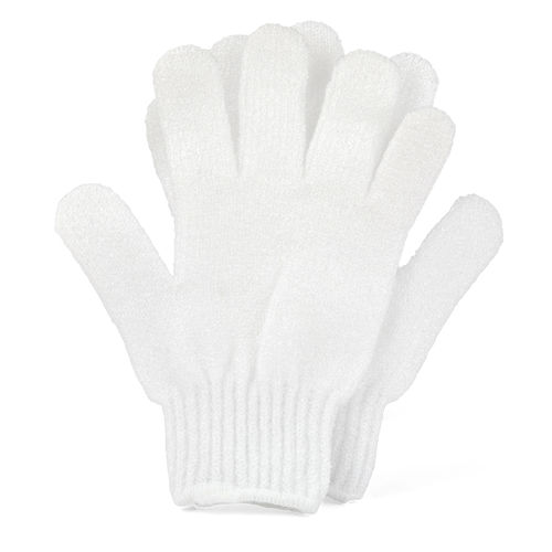 White Bath & Shower Exfoliating Gloves