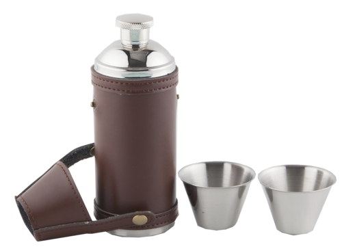 Brown Leather Hunters Flask and Cups