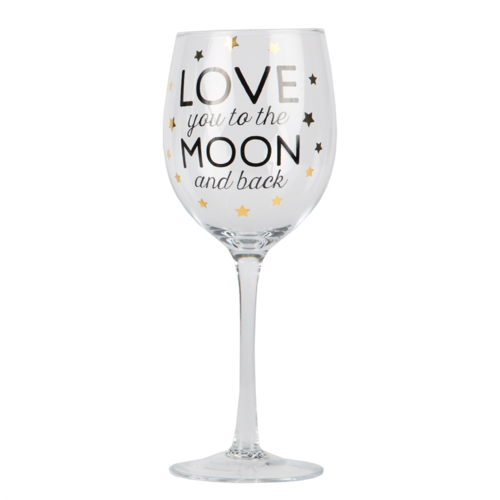 'Love you to the moon and back' Wine Glass