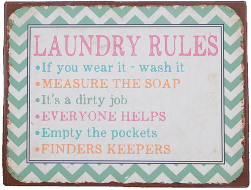 'Laundry Rules' Plaque