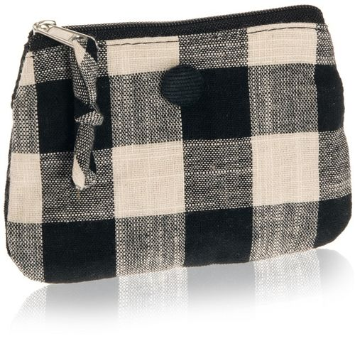 Black Natural Check Coin Purse