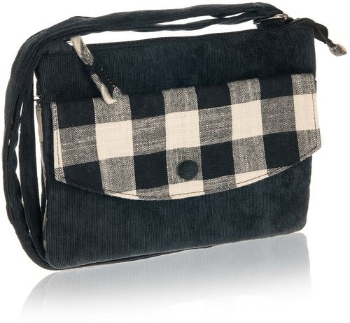 Black Natural Check Cross Over Bag