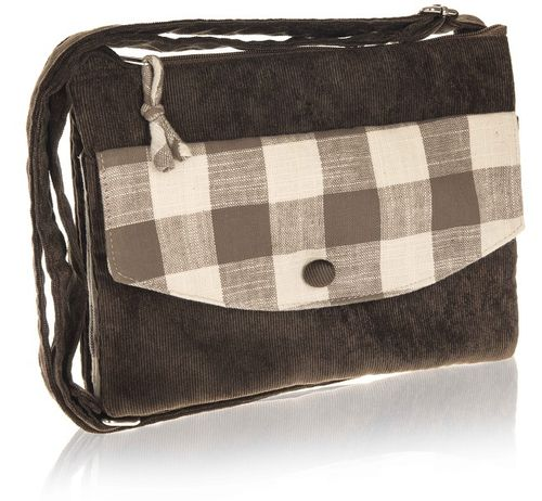 Taupe Natural Check Cross Over Bag