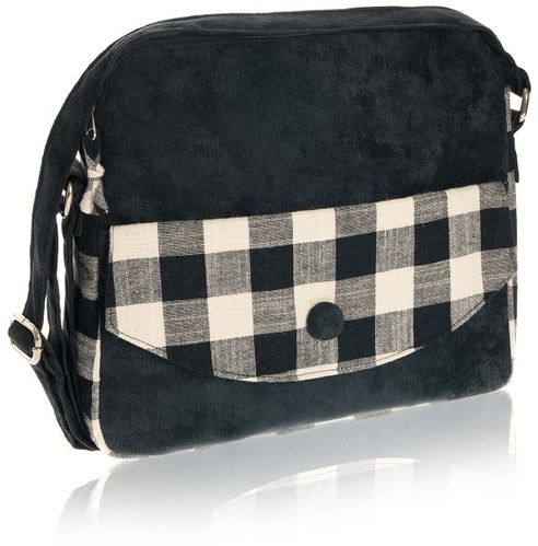 Black Natural Check Messenger Bag
