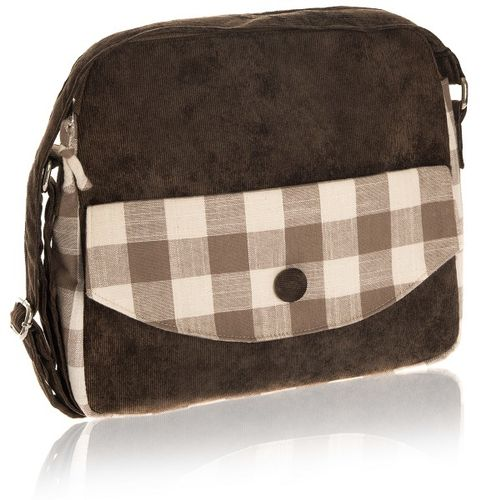 Taupe Natural Check Messenger Bag