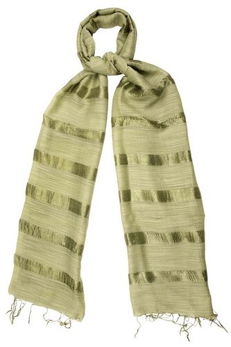 Dried Herb Silk and Linen Stripe Scarf