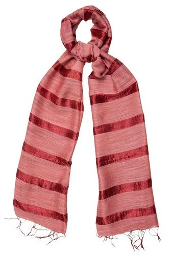 Marsala Red Silk and Linen Stripe Scarf